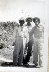 Uncle John R Gomez,  brother of George R Gomez; the man in the middle I do not know, maybe one of our cousins (a Sanches